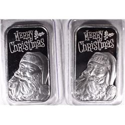 2 ONE OUNCE .999 SILVER CHRISTMAS BARS