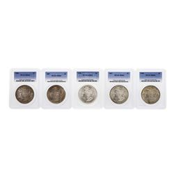 Lot of (5) Assorted Philadelphia Mint $1 Morgan Silver Dollar Coins PCGS MS64