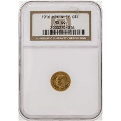 1916 $1 Commemorative McKinley Gold Coin NGC MS66