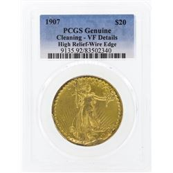 1907 $20 St. Gaudens High Relief Double Eagle Gold Coin Wire Edge PCGS Genuine D