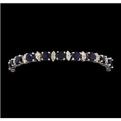 14KT White Gold 12.40ctw Blue Sapphire and Diamond Bracelet
