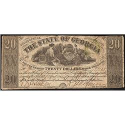1864 $20 The State of Georgia Obsolete Bank Note