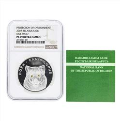 2007 Belarus 20 Roubles One Wolf Silver Coin NGC PF69 Ultra Cameo