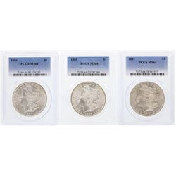 1885-1887 $1 Morgan Silver Dollar Coins PCGS MS64