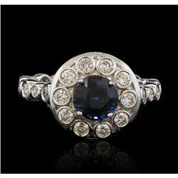18KT White Gold 1.57ct Blue Sapphire and Diamond Ring
