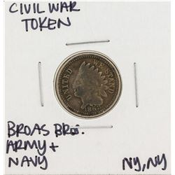 1863 Civil War Token Broas Bro Army and Navy New York
