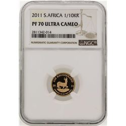 2011 South Africa 1/10 Krugerrand Gold Coin NGC PF70 Ultra Cameo