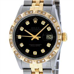 Rolex Mens Two Tone 18KT Yellow Gold Diamond Datejust Wristwatch