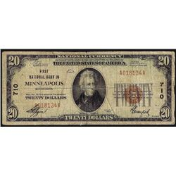 1929 $20 First National Bank in Minneapolis MN National Currency Note CH# 710