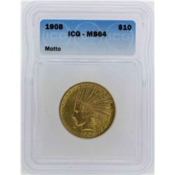 1908 $10 Indian Head Eagle Gold Coin ICG MS64