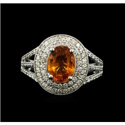 14KT White Gold 2.20ct Mandarin Spessartite and Diamond Ring