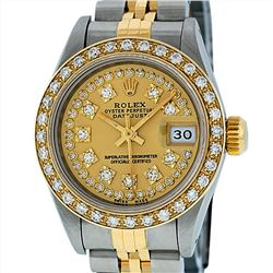 Rolex 18KT Two Tone 0.70ctw Diamond Datejust Ladies Wristwatch