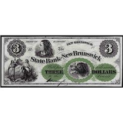 1800s $3 State Bank of New Brunswick Obsolete Bank Note