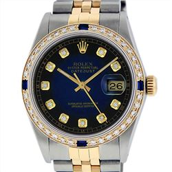 Rolex 14KT Two Tone Gold Sapphire and Diamond Datejust Mens Wristwatch