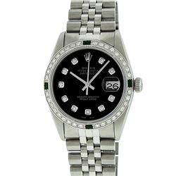 Rolex Mens Stainless Steel Emerald and 1.20ctw Diamond Datejust Wristwatch