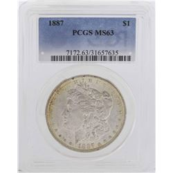 1887 $1 Morgan Silver Dollar Coin PCGS MS63