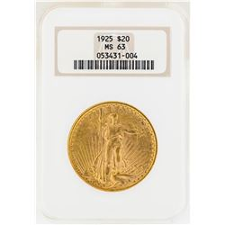 1925 $20 St. Gaudens Double Eagle Gold Coin NGC MS63