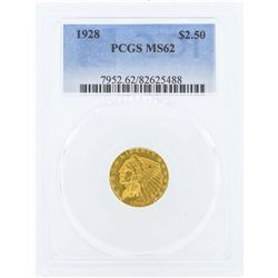1928 $2 1/2 Indian Head Quarter Eagle Gold Coin PCGS MS62