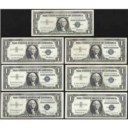 Lot of (7) 1957 $1 Silver Certificate Notes