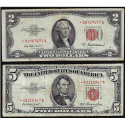 Lot of 1953A $2 & 1953 $5 Legal Tender STAR Notes