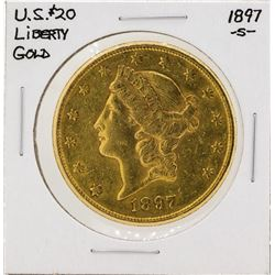 1897-S $20 Liberty Head Double Eagle Gold Coin