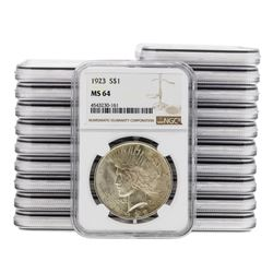 Lot of (20) 1923 $1 Peace Silver Dollar Coins NGC MS64