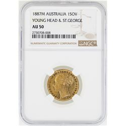 1887-M Australia Sovereign Young Head and St. George Gold Coin NGC AU50
