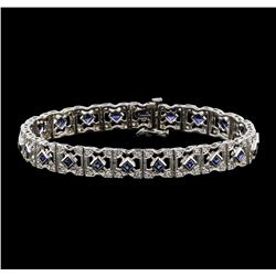 14KT White Gold 2.40ctw Blue Sapphire and Diamond Bracelet