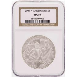 2007-P $1 Jamestown Commemorative Silver Dollar Coin NGC MS70