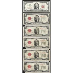 Lot of (6) 1928 & 1963 $2 Legal Tender Notes