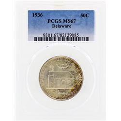 1936 Delaware Commemorative Half Dollar Coin PCGS MS67