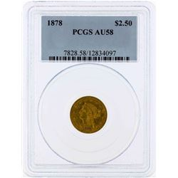 1878 $2 1/2 Liberty Head Quarter Eagle Gold Coin PCGS AU58