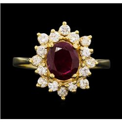 14KT Yellow Gold 1.30ct Ruby and Diamond Ring