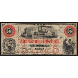 1862 $5 The Bank of Selma Obsolete Bank Note