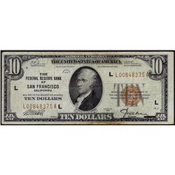 1929 $10 Federal Reserve of San Francisco Note