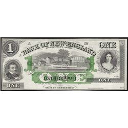 1800's $1 Bank of New England Obsolete Bank Note