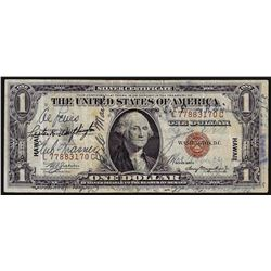 1935A $1 Silver Certificate WWII Emergency Hawaii Short Snorter Note