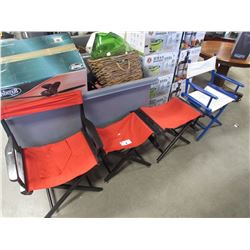 1 RED & BLACK DIRECTOR STYLE CHAIR/2 MATCHING SMALLER CHAIRS/1 BLUE & WHITE DIRECTOR STYLE CHAIR