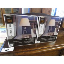 2 CURVED URBAN BRUSHED NICKEL FINISHED TABLE LAMPS