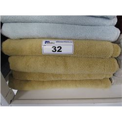 "4 NEW WAMSUTTA 30X56"" MICROCOTTON MUSTARD COLOURED TOWELS"