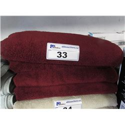 "4 NEW WAMSUTTA 30X56"" MICROCOTTON DEEP RED COLOURED TOWELS"