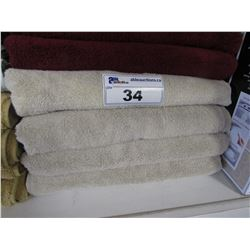 "4 NEW WAMSUTTA 30X56"" MICROCOTTON CANVAS COLOURED TOWELS"