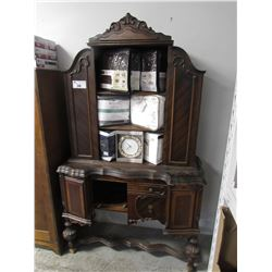 "ANTIQUE WOOD CABINET 44""W X 19""D X 75""H (SLIGHT DAMAGE, SUGGEST VIEWING) *CONTENTS NOT INCLUDED*"