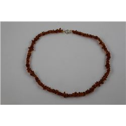 CERTIFIED ORANGE BALTIC AMBER NECKLACE.  DEEP ORANGE HONEY YELLOW.  34 CT.