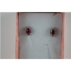 NEW RED RUBY & DIAMOND STUD EARRINGS.  OVAL CUT.  DEEP RED PINK COLOR. OVAL CUT. POST &