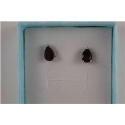 NEW GARNET STUD EARRINGS.  2CT PEAR CUT.  POST & BUTTERFLY BACKS.  STERLING SILVER
