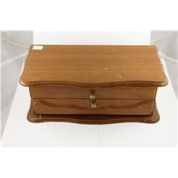 LARGE  WOODEN JEWELRY BOX FILLED WITH MISC JEWELRY