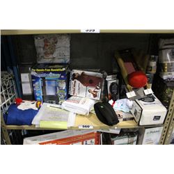 SHELF LOT OF DEPARTMENT STORE GOODS: HUMIDIFIER, SHOWER CURTAIN LINERS AND MORE