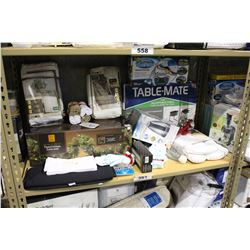 SHELF LOT OF DEPARTMENT STORE GOODS: CHRISTMAS DECORATIONS, TABLE MATE AND MORE
