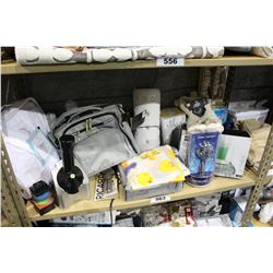 SHELF LOT OF DEPARTMENT STORE GOODS: SHOWER HEAD, DIFFUSER, JUICER AND MORE